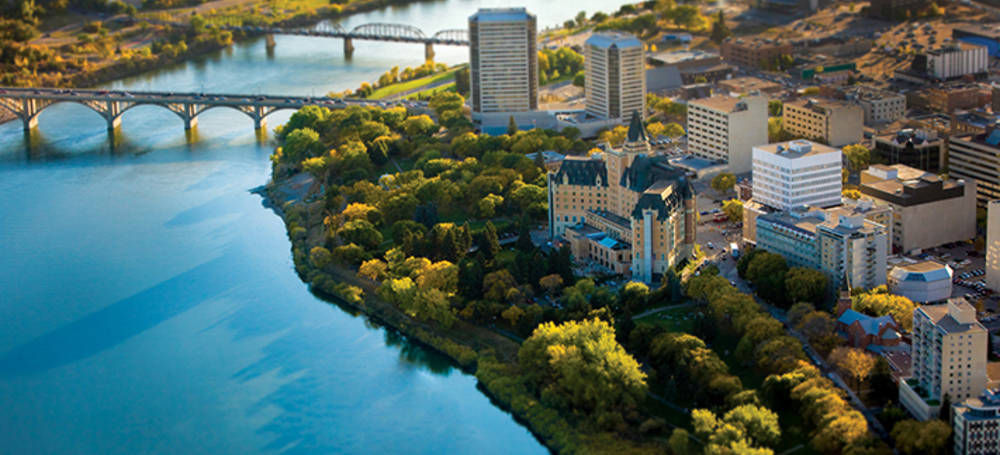 "<a href=""http://www.tourismsaskatoon.com/"">Courtesy of Tourism Saskatoon.</a> Saskatoon's riverfront area is popular for locals and visitors staying at Saskatoon hotels who want to walk, paddle and people watch."